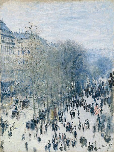 """https://www.facebook.com/Claude.Monet.MiaFeigelson.Gallery [Painting shown at the First Impressionist Exhibition. 35 Boulevard des Capucines, Paris. April 15 - May 15, 1874] """"Boulevard des Capucines,"""" (1873 - 1874) By Claude Monet, from Paris (1840 - 1926) oil on canvas; 80.33 x 60.33 cm; 31 5/8 x 23 3/4 in  Place of creation: Paris © The Nelson Atkins Museum of Art, Kansas City, Missouri, US Purchase: the Kenneth A. and Helen F. Spencer Foundation Acquisition Fund…"""