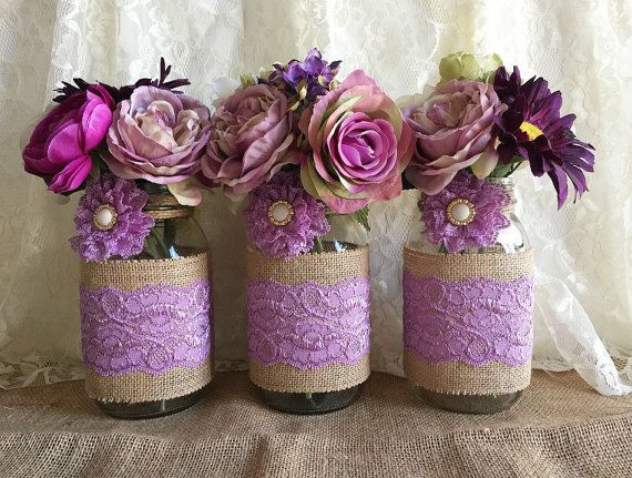 Lavender rustic burlap and lace covered 3 mason jar vases wedding deocration, bridal shower, engagement,…