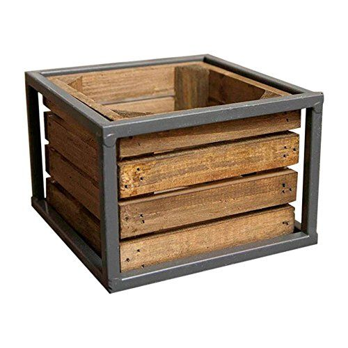 Industrial Crate with Metal Frame, Wood Planter Box, 5.75 x 5.75 x 3.75 Inches Gray Metal, (Set of 2)