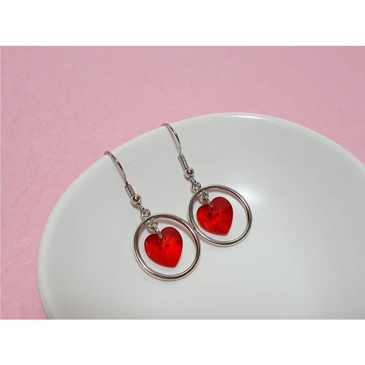 Korean Fashion Jewelry New Red Heart Ring Earring for Women Girls Ladies #Rielar #Hook