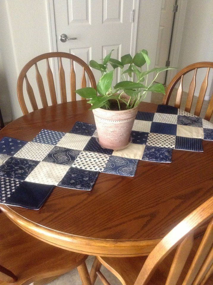 "My first ""zig zag"" table runner using a 5"" charm pack in Indigo Crossing"