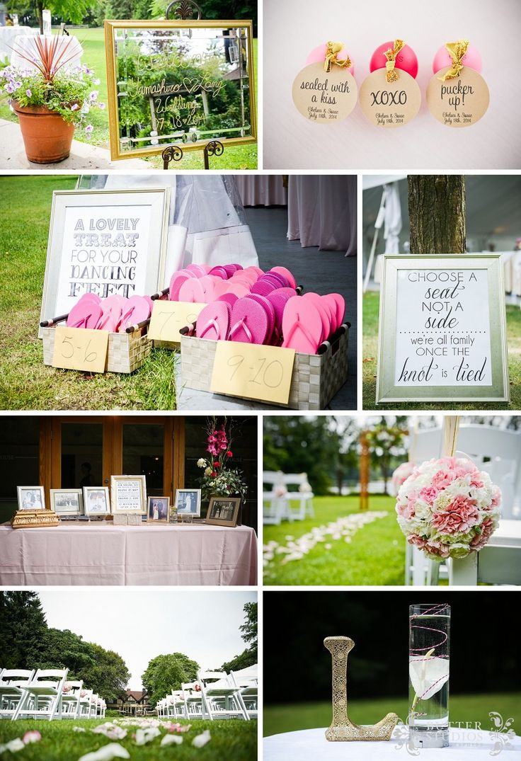 Wedding ceremony details | Gold | Blush | Greenery | Wedding Favors | Name Tags | Flip Flops | Instagram Hashtag SIgn | Flowers | Vase | Mirror | Seating Chart