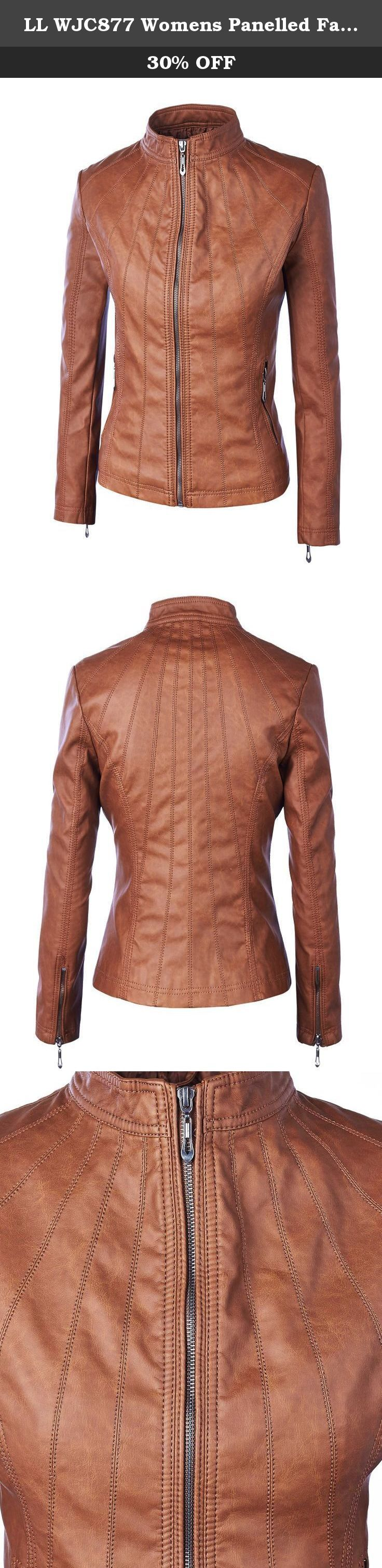 LL WJC877 Womens Panelled Faux Leather Moto Jacket L CAMEL. Womens Faux Leather Zip Up Moto Biker Jacket with Stitching Detail.