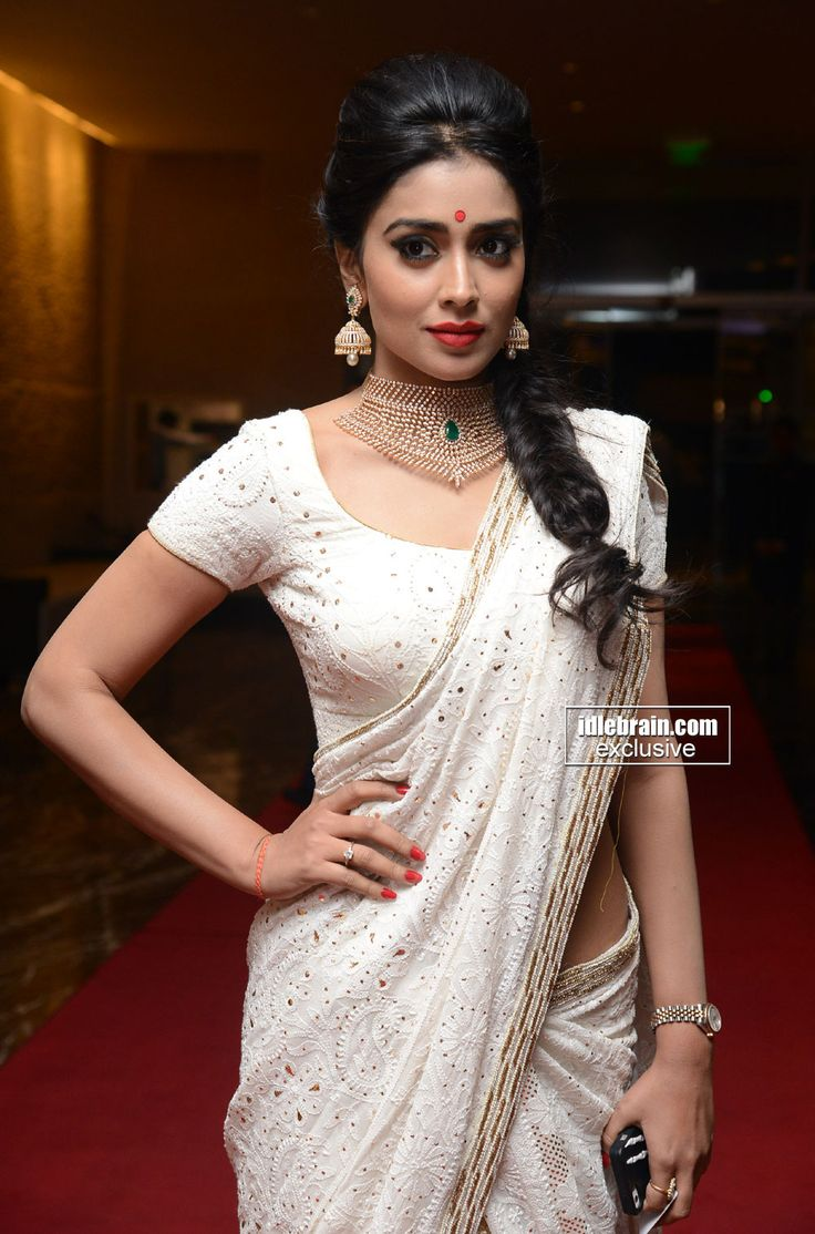 Sriya Saran in a white saree and blouse. Fishtail braid and statement necklace