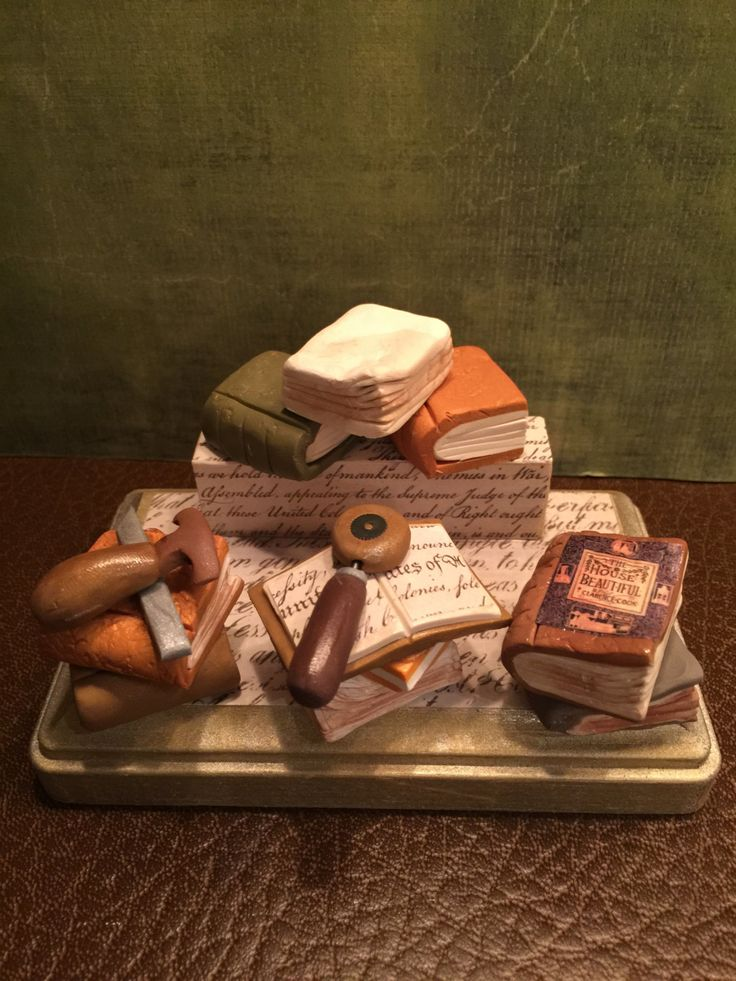 Polymer clay business card holder for someone who restores old book, Library, reading by NaomisSweetStuff on Etsy