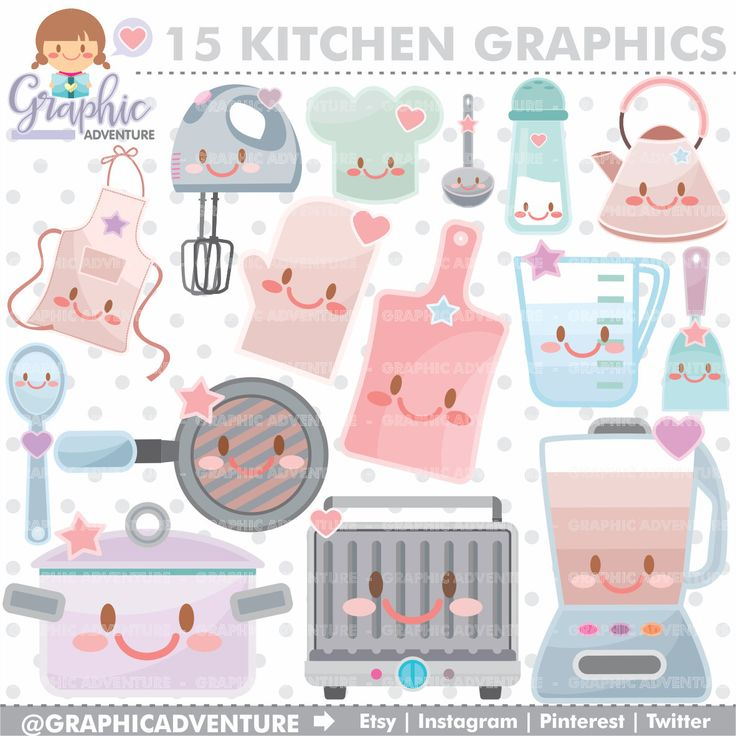 75%OFF - Kitchen Clipart, Kitchen Graphics, COMMERCIAL USE, Kawaii Clipart, Meal Graphics, Food Clipart, Planner Accessories, Cooking, Cook