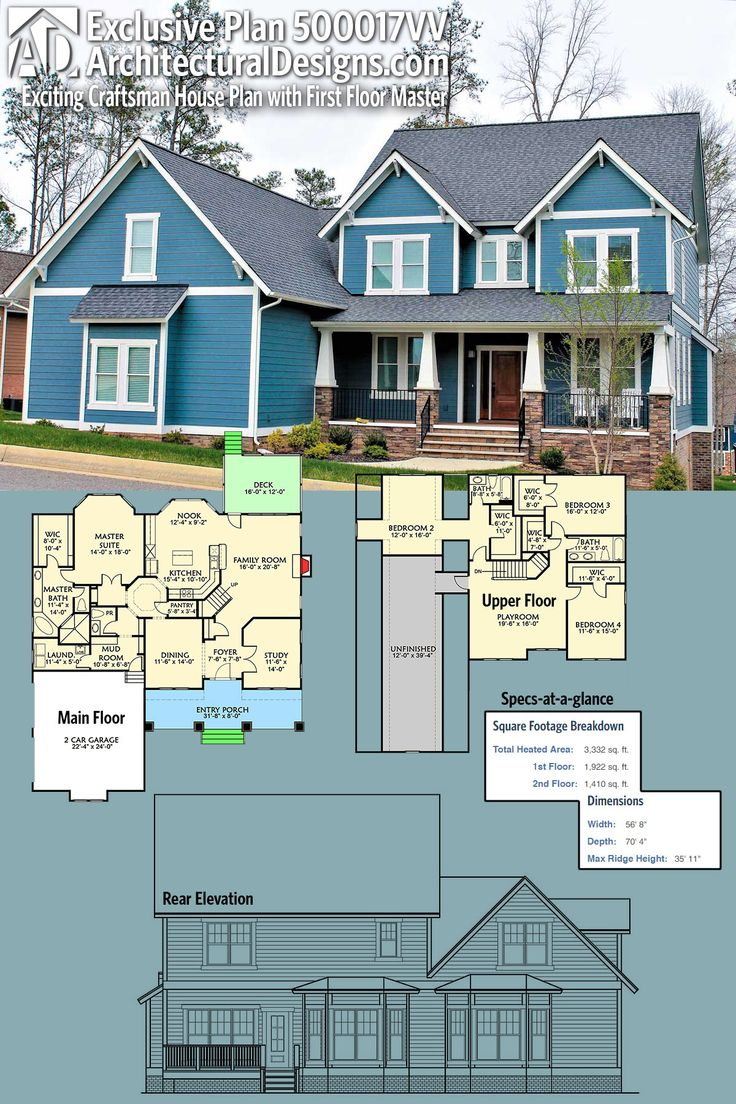 Plan 500017VV Exciting Craftsman House Plan with