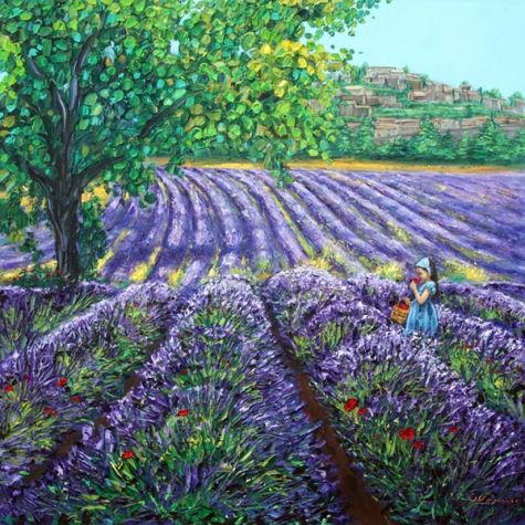 Scent of Provence - French Lavender Painting by the Lavender Artist, painting by artist Jennifer Vranes