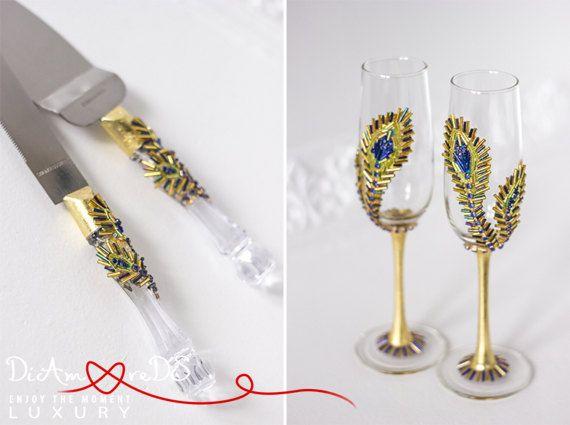 Copas de Champagne y porción de pastel pluma de pavo por DiAmoreDS