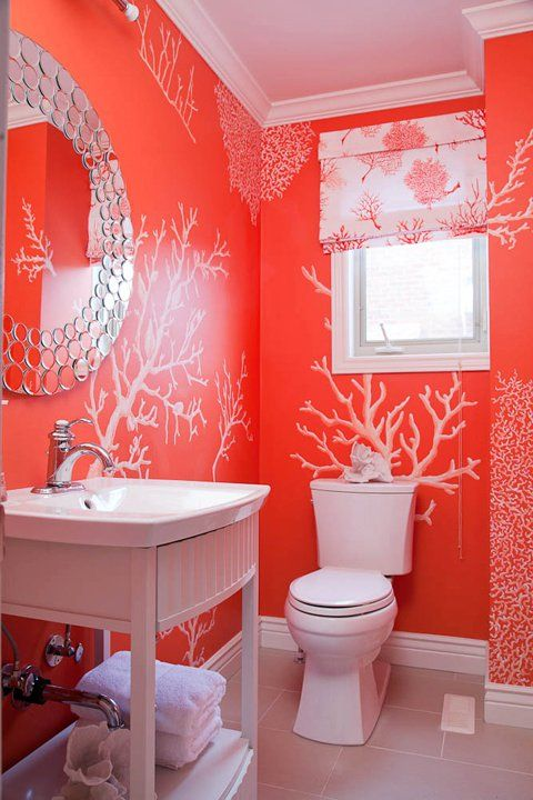 Coral all around, in this seaside powder room.Bathroom Colors, Small Bathroom, Coral Bathroom, Beach Houses, White Bathrooms, Small Spaces, Chinoiserie Chic, Powder Rooms, Coral Reefs