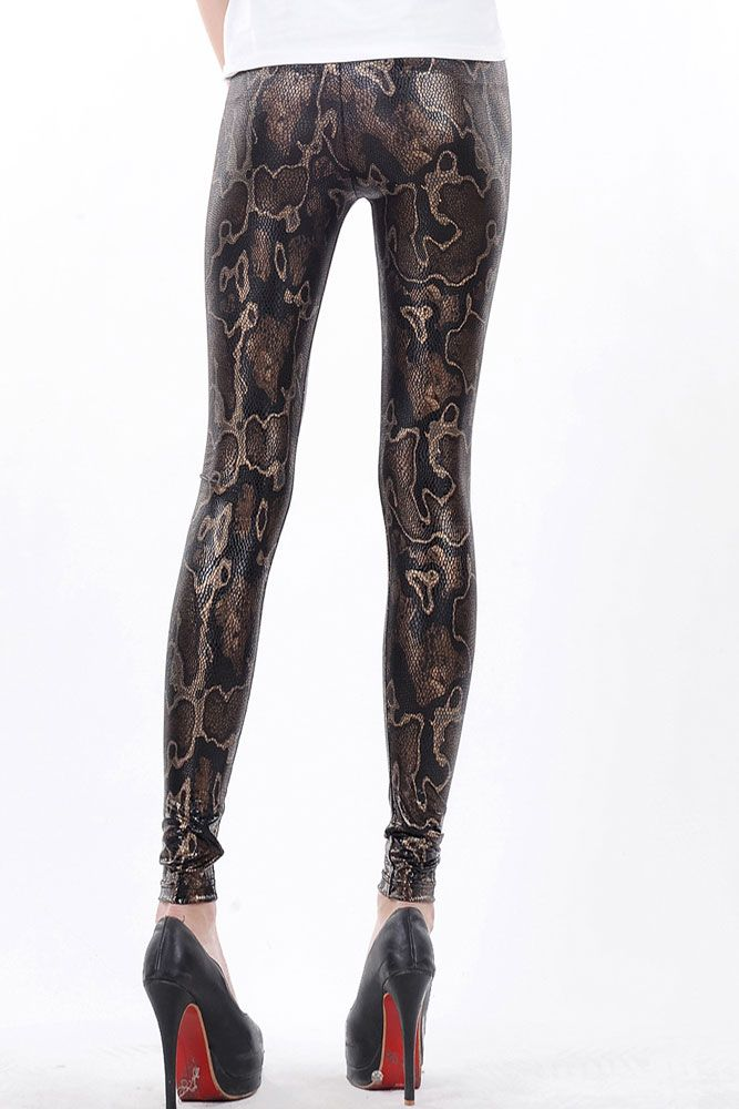 High Waist Snake Texture Metallic Legging Brown