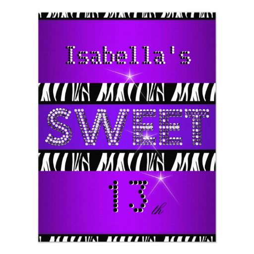 shop sweet 13 birthday zebra purple black card created by zizzago find this pin and more on 13th birthday party invitation - 13th Birthday Party Invitations