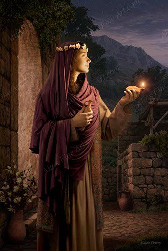 """""""Behold He Cometh"""" – Simon Dewey – LDS art – """"The wise virgin with her lamp trimmed and oil ready – waiting for the coming of the bridegroom. This painting illustrates the parable of the wise virgins from the New Testament."""""""