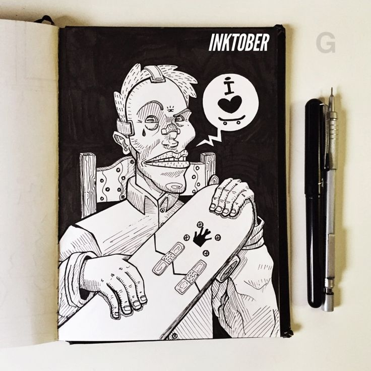 -24- #inktober #ink #illustration #inktober2015 #comics #backtothefuture #character #caricature #sketchbook #gutaart #sketch #topcreator #skate #mask #halloween
