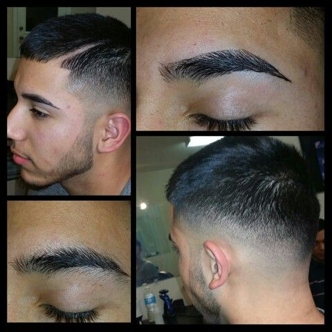 Modern mens haircut Eyebrows before and after with straight razor