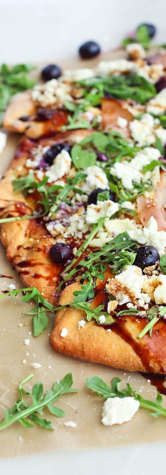BBQ Feta & Blueberry Flatbread w/ Honey Balsamic Drizzle  @KristiePryor