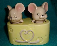 Fitz and Floyd Mice Nodders with Cheese Base Salt and Pepper Shakers Rare