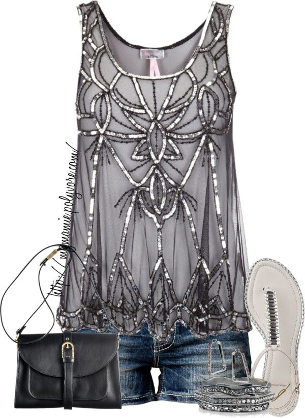 "Summer night out...Gray/Silver embellished tank with cutoffs  ""Untitled #716"" by mzmamie on Polyvore"