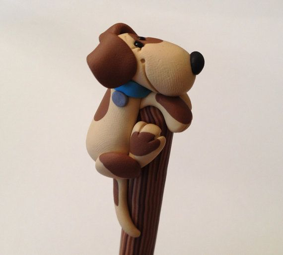Polymer Clay Pooch on a Stick Ball Point Pen by handmademom