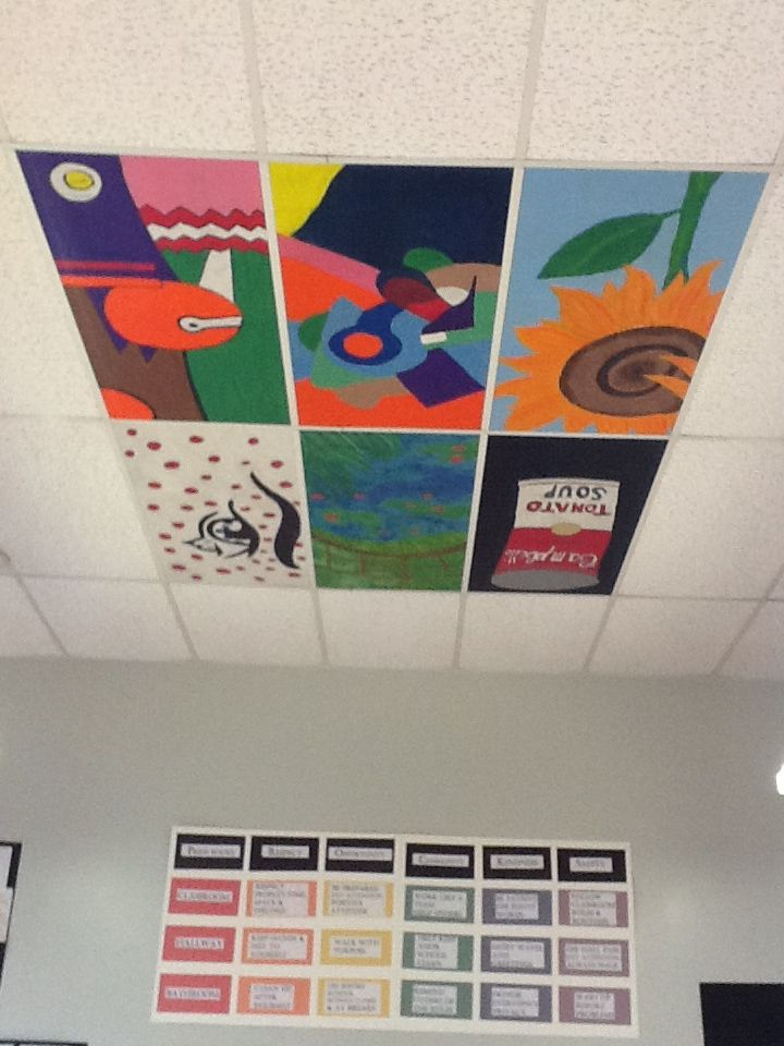 """painted masterpieces ceiling tiles - Students could paint in art class, parents could purchase and either keep for themselves or pay a little extra to have their child's """"art"""" displayed in a special hallway that the school could set up.  - GREAT Individual gifts for Jr. High Grades!!!!"""