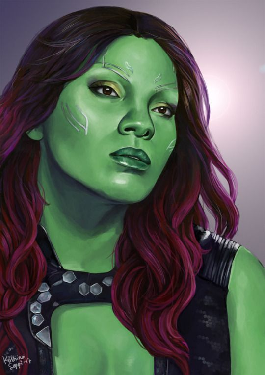 Portrait of Zoe Saldana as Gamora from Guardians of the Galaxy.  Painted in 2017.