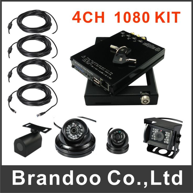 Full HD 1080P 4CH SD Vehicle DVR +4 HD extension cord + 4 cameras Package Support automatic recording