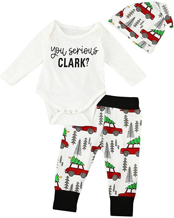 6941c7bd83bad Amazon.com: Christmas 3Pcs Set Cute Newborn Infant Baby Boy Girl Clothes  Romper Tops +Long Pants Outfit (6-12 Months, White): Clothing