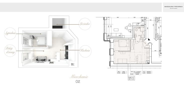 35m2 apartment | interior design by Magda Piekarska