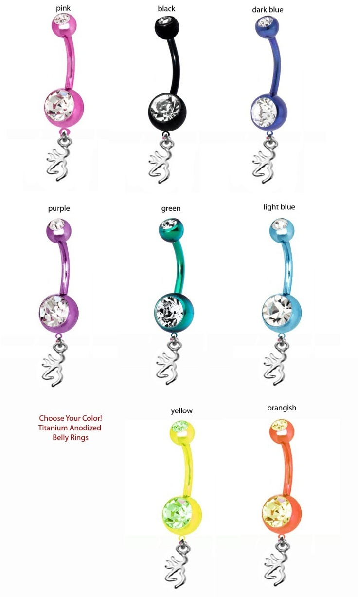 Southern Sisters Designs - Browning Charms On Titanium Belly Rings - Pick Your Color, $17.95 (http://www.southernsistersdesigns.com/browning-charms-on-titanium-belly-rings-pick-your-color/)