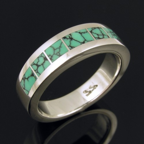 Spiderweb Turquoise Ring In Sterling Silver By Mark Hileman
