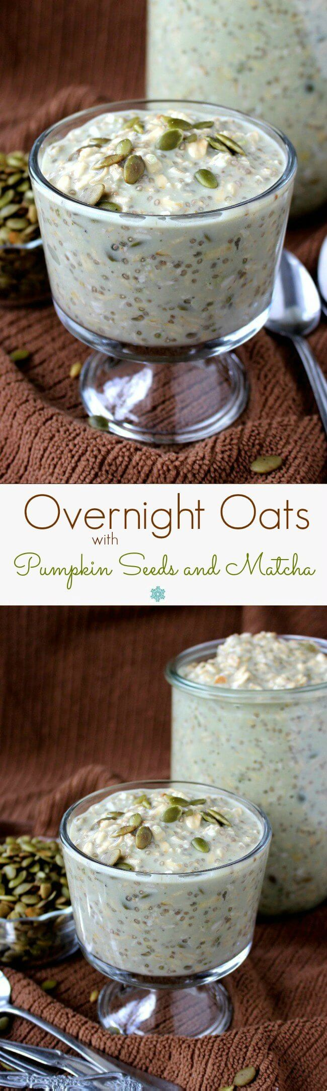 Overnight Oats made with Pumpkin seeds (pepitas), maple syrup and matcha offer the best of all worlds. Fast, delicious, healthy, beautiful and abundant.