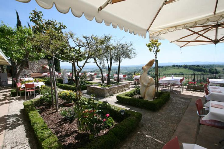 Our favorite restaurant in San Gimignano, La Vecchie Mura. What a view.