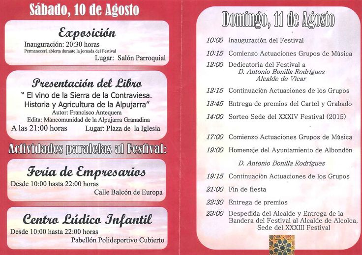 Programa Oficial del Festival.  Vive Alpujarra