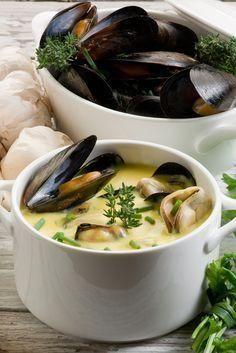 Soepje van mosselen en knolselercrème: Een snel, smakelijk en best wel feestelijk soepje! Ingrediënten: 4 personen 1 geschilde knolselder olijfolie extra virgin