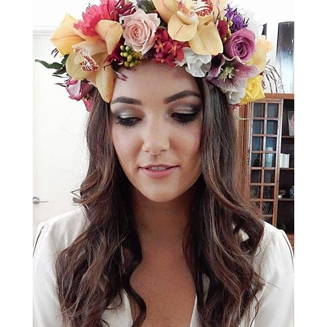 [repost] The stunning hen @beckymac88 wearing our #flowercrown Flower crown