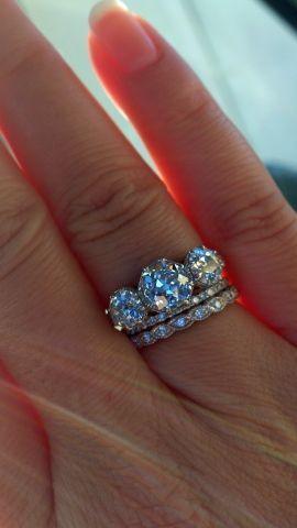 Vintage Inspired Bezel Set Diamond Wedding Ring 14k White Gold Diamond Eternity…