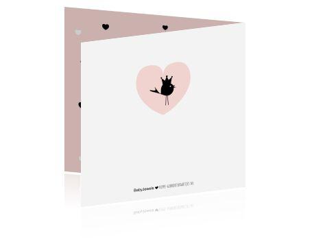 Lief trendy geboortekaartje voor een meisje met vogeltje en hartjes in pastel roze en zwart-wit