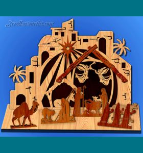 Scroll Saw Patterns :: Holidays :: Christmas :: Plaques & other projects :: Large Nativity scene with overlays and freestanding figures -