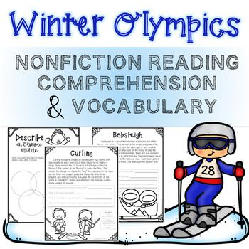 Have fun discussing the 2018 Winter Olympics with this nonfiction reading comprehension and vocabulary pack. Includes 14 pages of black and white printable worksheets. Each page contains high-quality images for younger students to color. The reading passages discuss the history/origin of the Olympics and the Olympic torch, different sports played in the Winter