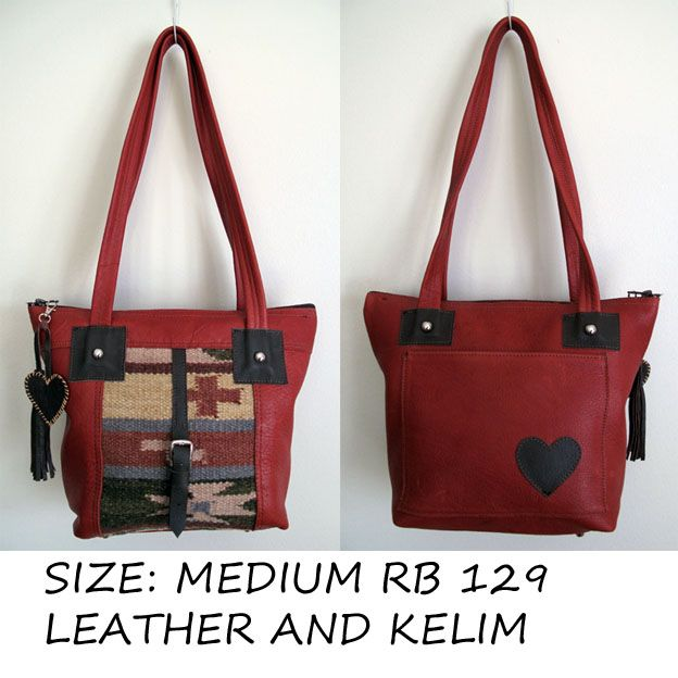 Leather and kelim handbag