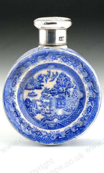 Antique Sampson Mordan scent perfume bottle. Porcelain Willow Pattern, sterling screw top, London 1886
