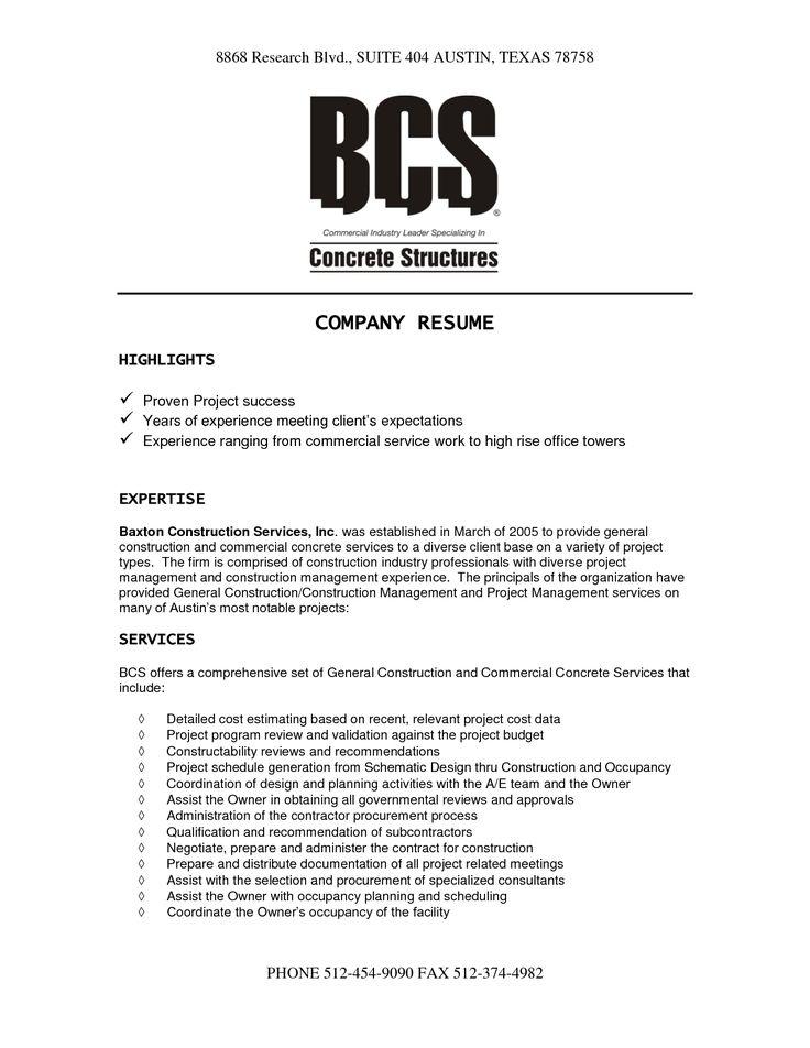 Company Resume Example Amazing Business Resume Examples To Get - construction resume example