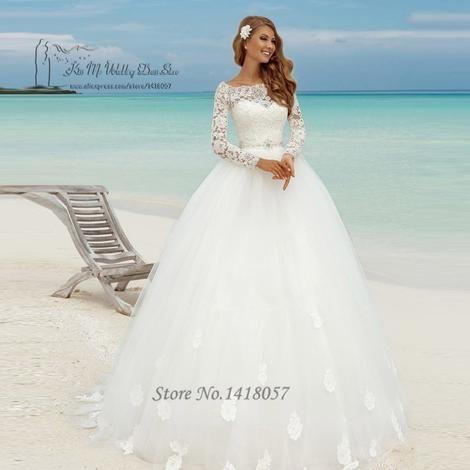 Women Matrimonio Spring Beach Wedding Dress Long Sleeve Ball Gown Bride Dresses Lace Wedding Gowns Vestido de Casamento Branco