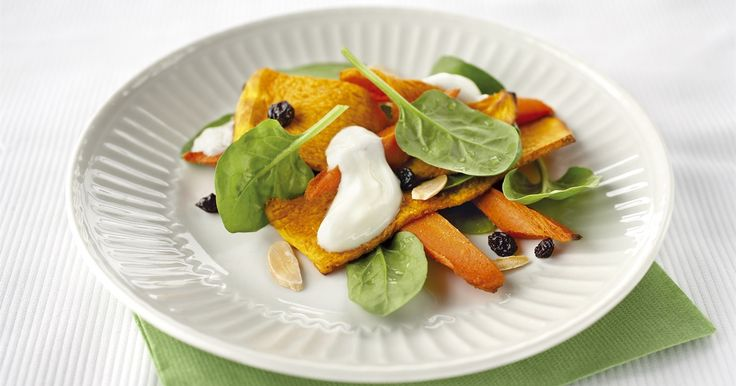 Packed with flavour but light on calories, this Mediterranean-inspired spiced pumpkin salad is a fantastic entrée or lunch.