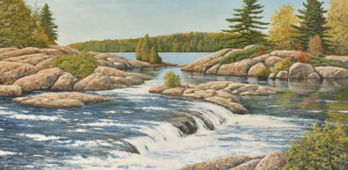 Fast Water  My latest 12x24 original acrylic painting. It is of Burleigh Falls, which is north of Peterborough in Southern Ontario.