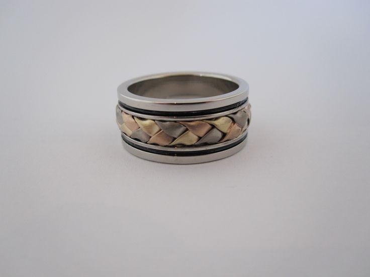 white , yellow and rose gold plaited metal wedding ring. custom made jewellery by seventysixdesign. @76design