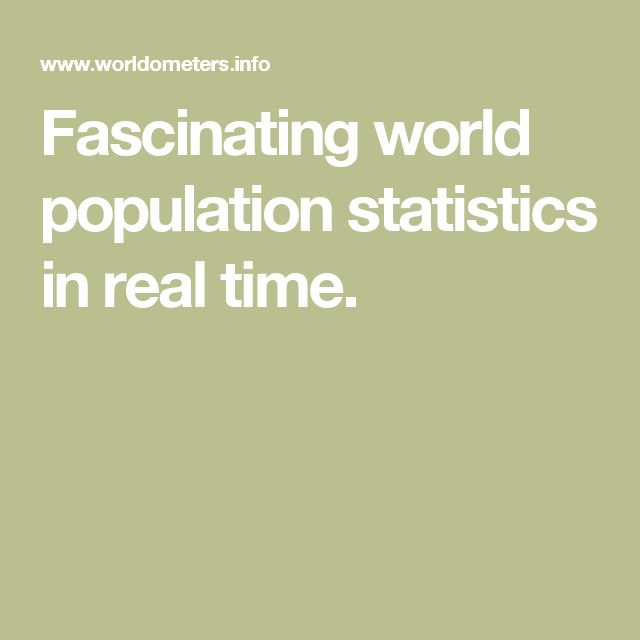 Fascinating world population statistics in real time.