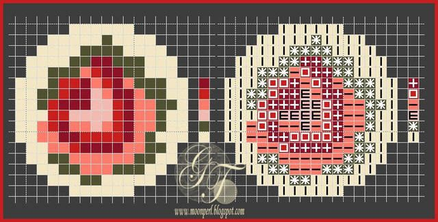 Для сережек и кольца придется вышивать 15-кой Тохо, канва Аида 18; для брошек сгодится и чех 10-ка, канва Аида 14. (серги- 4 см, кольцо- 3,2 см (из 15-ки Тохо, окантовка- чех 12))