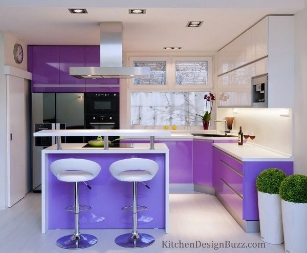 Light purple color kitchen interior decoration