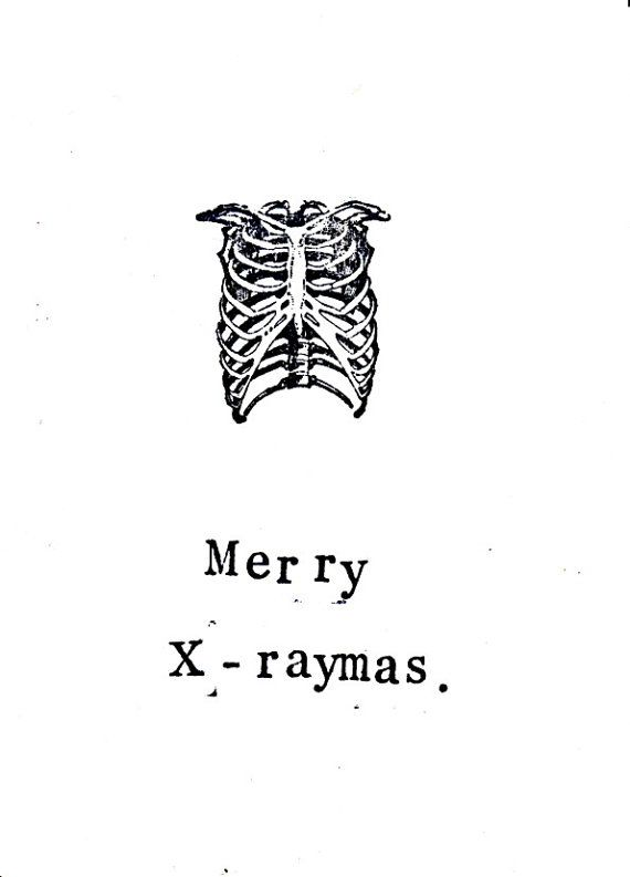 5 Pack X-ray Anatomy Christmas Card: Funny Skeleton Science Medical Humor Doctor Nurse Holiday Seasons Greetings Atheist Gothic Black Pun